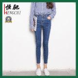 Pantalones vaqueros modificados para requisitos particulares del dril de algodón de la tela de algodón para las mujeres