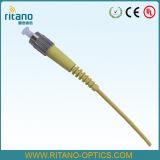 Tresse de gaine de jaune de fibre optique du FC 1.5m avec la perte inférieure 0.15dB