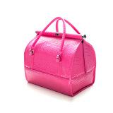 Solid Color PU double fermeture à glissière Ladies' étanche sacs cosmétiques