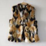 三色のジャカードのどの毛皮のGiletのベストのコート