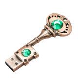 Presente chave de bronze da oferta do USB da movimentação da pena da forma do volume 4GB
