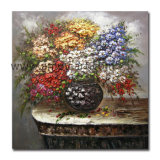 Olio pesante floreale con la pittura a olio del vaso per la decorazione della parete