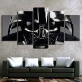 5 PCS/Set enmarcaron el cuadro negro impreso HD de la pintura de la lona de la pared del casco de Star Wars Darth Vader para los artes caseros de la decoración