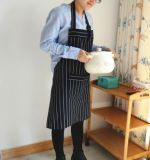 흑백 줄무늬 리넨 옷 조정가능한 어깨끈 홈 부엌 성인 앞치마