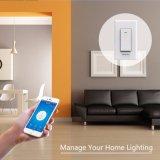Intelligente WiFi heller Schalter APP-Steuerung von überall, Arbeiten mit Alexa Google behilflichem Haus, Zeitplan-Überlastungs-Schutz-Nulldrahterforderlicher One-Way