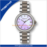 Het mooie Shell van de Parel Kwarts van Elegent van het Teken van de Diamant van de Wijzerplaat Dame Wristwatch