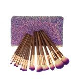 16 PC nuevo pincel de maquillaje de etiqueta privada con purpurina bolsa