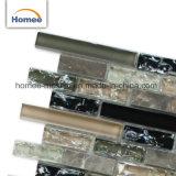 La fábrica de cristal brillante piedra gris humo Mosaico tira de cristal