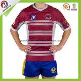 Heiße verkaufende feste Sitz-Rugby-Uniformen mit kurzer Hülse, Rugby-Kurzschlüsse, Rugby-Socken