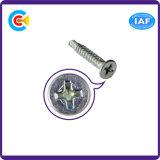 GB/DIN/ISO/ANSI / ASTM / SAE / Fii// BS/Uni/JIS aço carbono galvanizado Drill-Tail Atarraxante cabeça cruzada para Bridge
