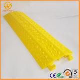 Plástico claro 2 do amarelo do dever rampa do protetor do cabo do assoalho das canaletas/2 maneiras