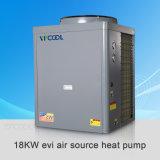 ヒートポンプ17.5kwに水をまくEviの空気