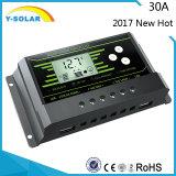 新しいPWM 30AMP 12V/24V自動バックライト二重USBの太陽コントローラZ30