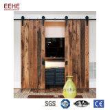 Porta de celeiro deslizante de madeira do armário dobro e deslizamento da porta de celeiro