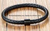 De echte Armband van de Kabel van het Leer met Armband de Van uitstekende kwaliteit van het Leer DIY (BL2852)