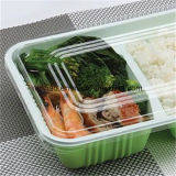 Envase cómodo de la preparación del alimento del rectángulo de almuerzo de Eco con la tapa clara