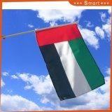 Los eventos deportivos personalizados Impresión Digital impresos individuales, dobles banderas de la mano de los Emiratos Árabes Unidos