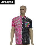 Hommes faits sur commande de T-shirt d'impression, couleur piquant le polo noir et rose