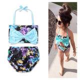 Bikini de bandage de Bowknot d'impression de fleurs de petites filles de bébé baignant des vêtements de bain
