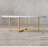 현대 금 스테인리스 다리 대리석 최고 타원형 둥근 커피용 탁자
