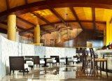 Moderno restaurante del hotel Mobiliario de bar de madera sillas de cuero de PU