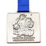 Médaille fabriquée à la main en alliage de zinc de sport en métal de souvenir de récompense de nickelage de trophée de forme spéciale ronde bon marché de Customed 3D