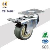 3'' 80kg Roulette pivotante avec frein Total pu de la plaque supérieure