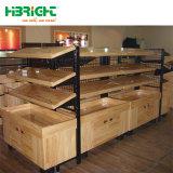 Estrutura em metal e madeira maciça prateleiras gôndola de supermercados