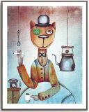 벽 예술을%s Photopaper에 있는 암흑 고양이 훈장 색칠