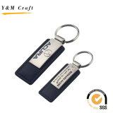 Hot Sale Version imprimable forme rectangulaire en métal et la chaîne de clés en cuir
