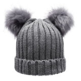 2017 Beanies de Pompom de chapeaux tricotés parhiver de filles