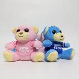 t-셔츠에 의하여 견면 벨벳 Keychain 인쇄되는 연약한 채워진 장난감을%s 가진 장난감 곰