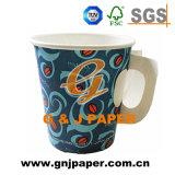 Zoll gedrucktes Wegwerfkaffee-Papiercup mit Griff