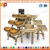 Prateleiras de madeira da cremalheira do carrinho de indicador do vegetal e da fruta do supermercado (Zhv5)
