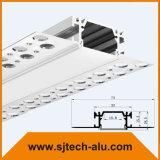 """Profilo di alluminio del LED con la flangia messa in 5/8 """" di muro a secco con il connettore diritto"""