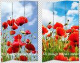 Fleur de la conception de champ la salle de séjour la toile et l'impression écran Pliage décoratifs en bois Salle X 3 Panneau de diviseur