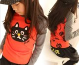 Mädchen-Karikatur-Farben-Katze-Kinder Sleeved lang T-Shirt