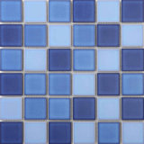 Color azul piscina mosaico de porcelana