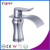 Fyeer Round Brass Body Oblate Spout Waterfall Basin Faucet