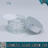 choc en verre cosmétique de 15ml 1/2 once pour la crème de face avec le couvercle en aluminium