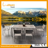 最上質アルミニウム庭の屋外の食事の家具のプラスチック木製の椅子表セット