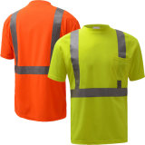 Vente en gros Tc Twill Fabric Haute visibilité Reflective Safety Construction T-Shirt