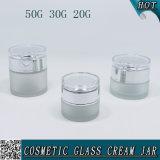 50g 30g 20g Cylindre givré Cosmétiques Verre Jar avec couvercle acrylique