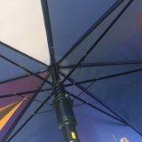 Safety Open Wooden Handle Parasol de golf promotionnel