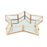 Plateau en verre personnalisé décoratif en gros d'étalage de fruit de bijou en métal