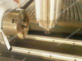 hölzerner Ausschnitt 3D, der Maschine CNC-Fräser mit Dreh schnitzt