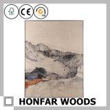 Pittura tradizionale di arte della parete di paesaggio nel telaio di legno