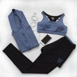 Vestiti a due pezzi sexy personalizzati di yoga di addestramento di forma fisica della chiusura lampo Hoodie+Vest+Faux di colore