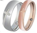 Ring van het Staal van de Juwelen van de manier de Dwars Gestalte gegeven Vastgestelde voor Paren