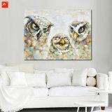 綿のキャンバスの壁映像フクロウグループの油絵